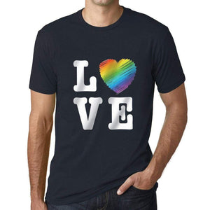 Mens Graphic T-Shirt LGBT Love Navy - Navy / XS / Cotton - T-Shirt