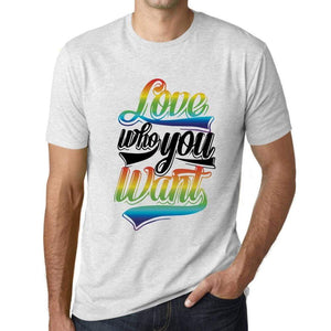 Mens Graphic T-Shirt LGBT Love Who You Want Vintage White - Vintage White / XS / Cotton - T-Shirt