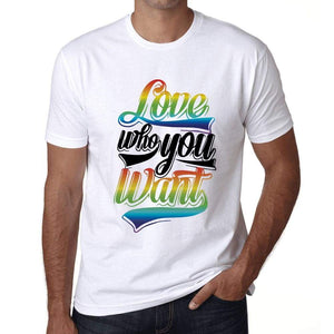 Mens Graphic T-Shirt LGBT Love Who You Want White - White / XS / Cotton - T-Shirt