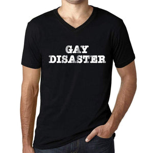 Mens Graphic V-Neck T-Shirt LGBT Gay Disaster Deep Black - Deep Black / S / Cotton - T-Shirt