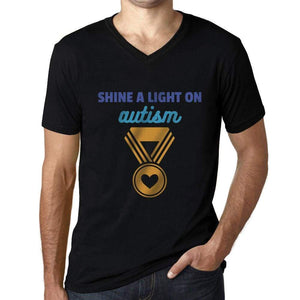 Mens Graphic V-Neck T-Shirt Shine a Light on Autism Deep Black - Deep Black / S / Cotton - T-Shirt