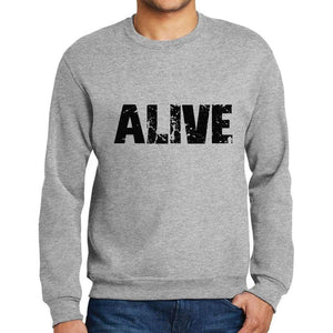 Mens Printed Graphic Sweatshirt Popular Words Alive Grey Marl - Grey Marl / Small / Cotton - Sweatshirts