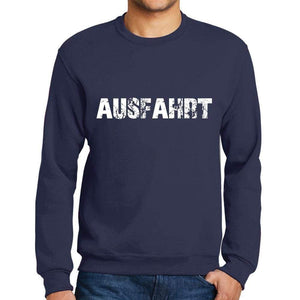Mens Printed Graphic Sweatshirt Popular Words Ausfahrt French Navy - French Navy / Small / Cotton - Sweatshirts