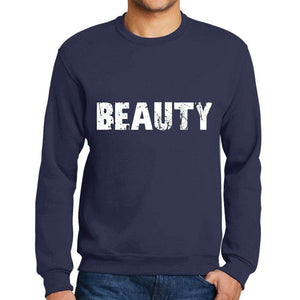 Mens Printed Graphic Sweatshirt Popular Words Beauty French Navy - French Navy / Small / Cotton - Sweatshirts