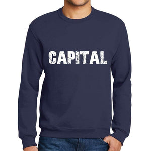 Mens Printed Graphic Sweatshirt Popular Words Capital French Navy - French Navy / Small / Cotton - Sweatshirts