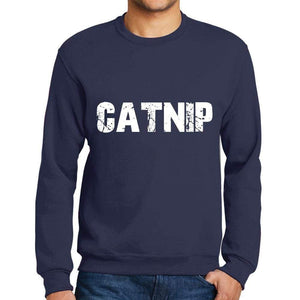Mens Printed Graphic Sweatshirt Popular Words Catnip French Navy - French Navy / Small / Cotton - Sweatshirts