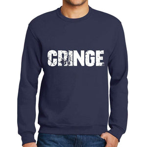 Mens Printed Graphic Sweatshirt Popular Words Cringe French Navy - French Navy / Small / Cotton - Sweatshirts