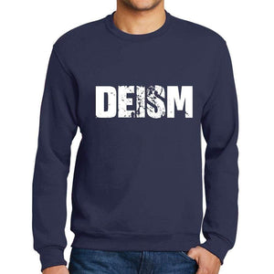 Mens Printed Graphic Sweatshirt Popular Words Deism French Navy - French Navy / Small / Cotton - Sweatshirts
