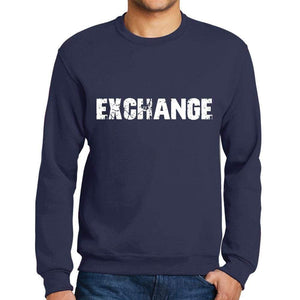 Mens Printed Graphic Sweatshirt Popular Words Exchange French Navy - French Navy / Small / Cotton - Sweatshirts