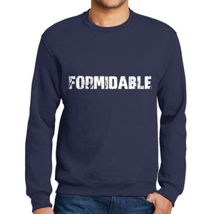 Mens Printed Graphic Sweatshirt Popular Words Formidable French Navy - French Navy / Small / Cotton - Sweatshirts