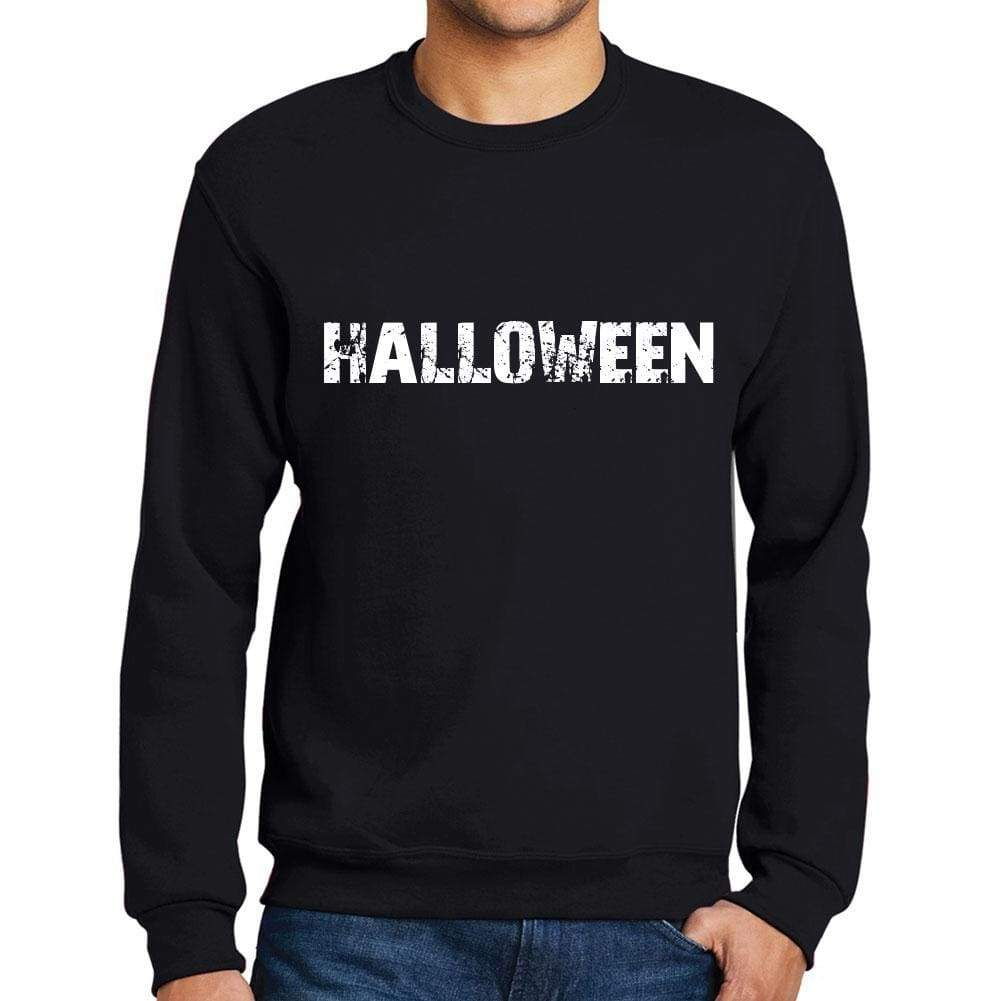 Mens Printed Graphic Sweatshirt Popular Words Halloween Deep Black - Deep Black / Small / Cotton - Sweatshirts