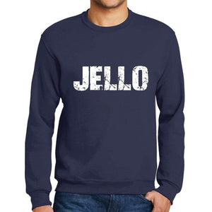 Mens Printed Graphic Sweatshirt Popular Words Jello French Navy - French Navy / Small / Cotton - Sweatshirts