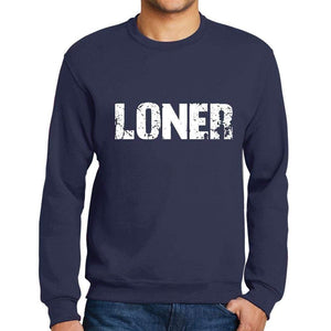 Mens Printed Graphic Sweatshirt Popular Words Loner French Navy - French Navy / Small / Cotton - Sweatshirts