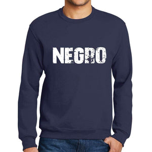Mens Printed Graphic Sweatshirt Popular Words Negro French Navy - French Navy / Small / Cotton - Sweatshirts