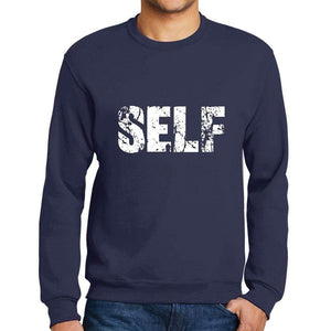 Mens Printed Graphic Sweatshirt Popular Words Self French Navy - French Navy / Small / Cotton - Sweatshirts