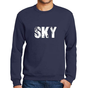 Mens Printed Graphic Sweatshirt Popular Words Sky French Navy - French Navy / Small / Cotton - Sweatshirts