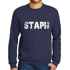 Mens Printed Graphic Sweatshirt Popular Words Staph French Navy - French Navy / Small / Cotton - Sweatshirts