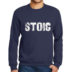 Mens Printed Graphic Sweatshirt Popular Words Stoic French Navy - French Navy / Small / Cotton - Sweatshirts