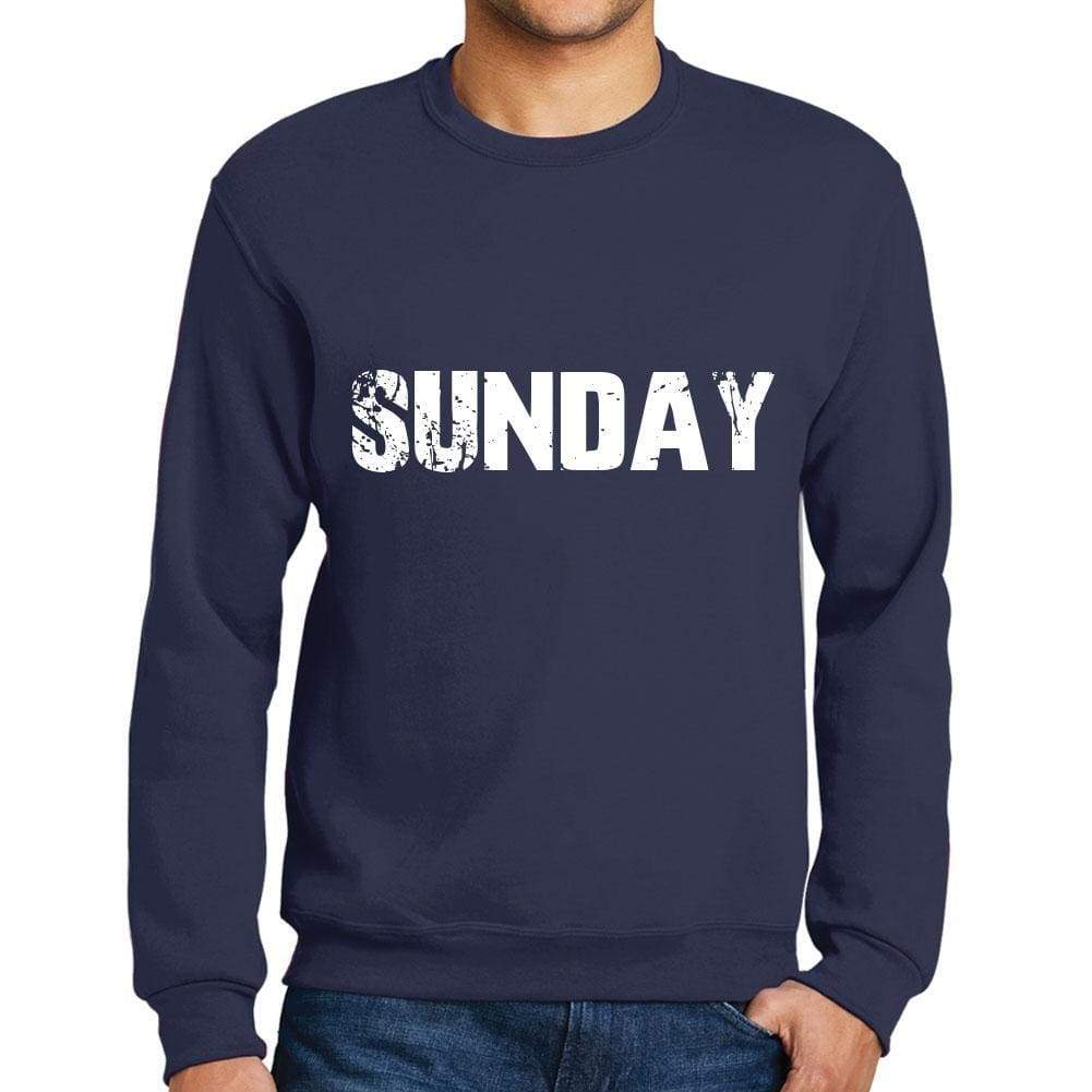 ecc07a4ce29d Mens Printed Graphic Sweatshirt Popular Words Sunday French Navy - French  Navy   Small   Cotton