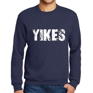 Mens Printed Graphic Sweatshirt Popular Words Yikes French Navy - French Navy / Small / Cotton - Sweatshirts