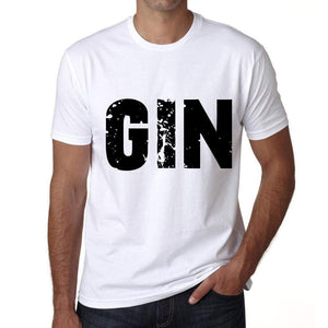 Mens Tee Shirt Vintage T Shirt Gin X-Small White 00559 - White / Xs - Casual
