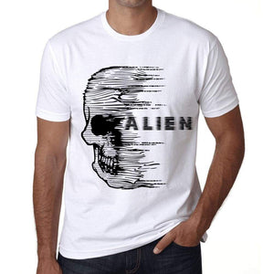 Mens Vintage Tee Shirt Graphic T Shirt Anxiety Skull Alien White - White / Xs / Cotton - T-Shirt