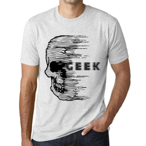 Mens Vintage Tee Shirt Graphic T Shirt Anxiety Skull Geek Vintage White - Vintage White / Xs / Cotton - T-Shirt