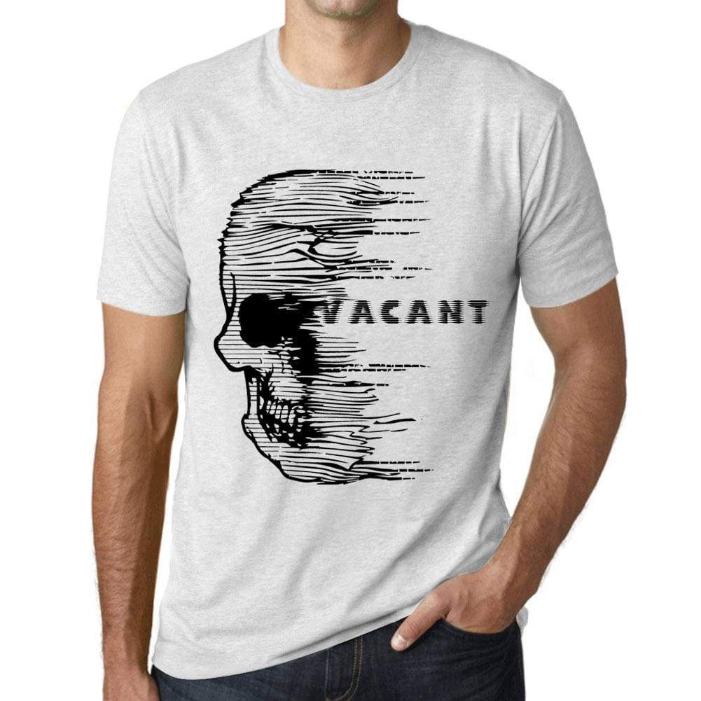 Mens Vintage Tee Shirt Graphic T Shirt Anxiety Skull Vacant Vintage White - Vintage White / Xs / Cotton - T-Shirt
