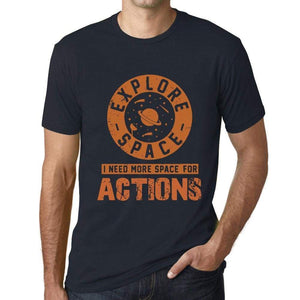 Mens Vintage Tee Shirt Graphic T Shirt I Need More Space For Actions Navy - Navy / Xs / Cotton - T-Shirt