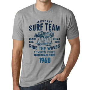 Mens Vintage Tee Shirt Graphic T Shirt Surf Team 1960 Grey Marl - Grey Marl / Xs / Cotton - T-Shirt