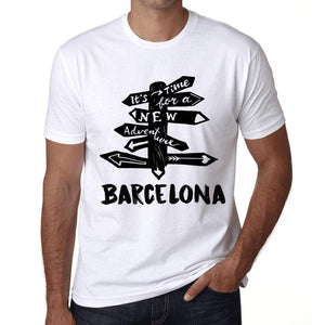 Mens Vintage Tee Shirt Graphic T Shirt Time For New Advantures Barcelona White - White / Xs / Cotton - T-Shirt