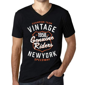 Mens Vintage Tee Shirt Graphic V-Neck T Shirt Genuine Riders 1958 Black - Black / S / Cotton - T-Shirt