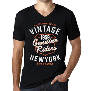 Mens Vintage Tee Shirt Graphic V-Neck T Shirt Genuine Riders 1959 Black - Black / S / Cotton - T-Shirt