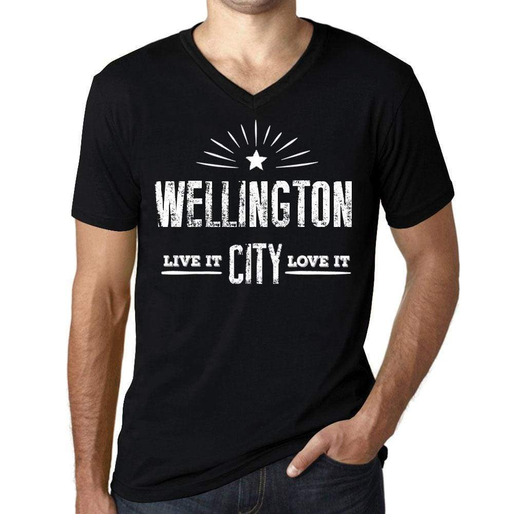 Mens Vintage Tee Shirt Graphic V-Neck T Shirt Live It Love It Wellington Deep Black - Black / S / Cotton - T-Shirt