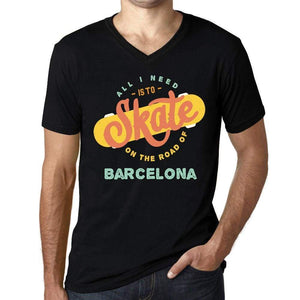 Mens Vintage Tee Shirt Graphic V-Neck T Shirt On The Road Of Barcelona Black - Black / S / Cotton - T-Shirt
