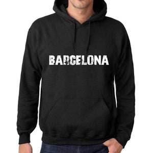 Mens Womens Unisex Printed Graphic Cotton Hoodie Soft Heavyweight Hooded Sweatshirt Pullover Popular Words Barcelona Deep Black - Black / Xs