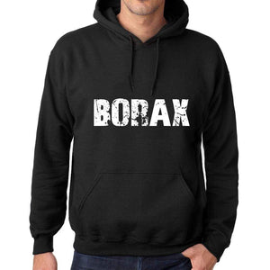 Mens Womens Unisex Printed Graphic Cotton Hoodie Soft Heavyweight Hooded Sweatshirt Pullover Popular Words Borax Deep Black - Black / Xs /