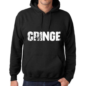 Mens Womens Unisex Printed Graphic Cotton Hoodie Soft Heavyweight Hooded Sweatshirt Pullover Popular Words Cringe Deep Black - Black / Xs /