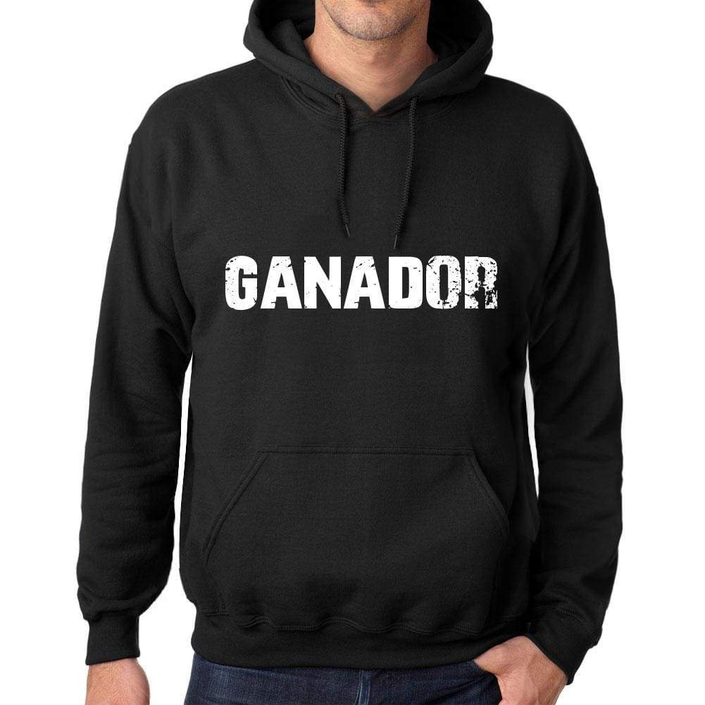Mens Womens Unisex Printed Graphic Cotton Hoodie Soft Heavyweight Hooded Sweatshirt Pullover Popular Words Ganador Deep Black - Black / Xs /