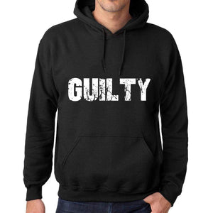 Mens Womens Unisex Printed Graphic Cotton Hoodie Soft Heavyweight Hooded Sweatshirt Pullover Popular Words Guilty Deep Black - Black / Xs /