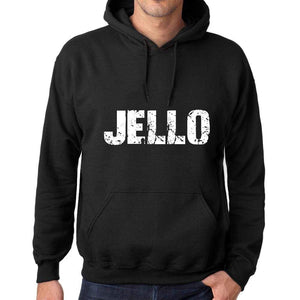 Mens Womens Unisex Printed Graphic Cotton Hoodie Soft Heavyweight Hooded Sweatshirt Pullover Popular Words Jello Deep Black - Black / Xs /