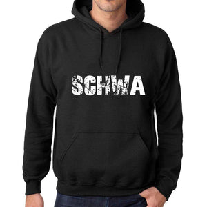 Mens Womens Unisex Printed Graphic Cotton Hoodie Soft Heavyweight Hooded Sweatshirt Pullover Popular Words Schwa Deep Black - Black / Xs /