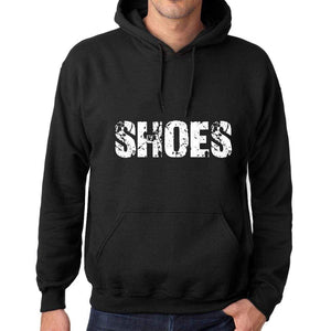 Mens Womens Unisex Printed Graphic Cotton Hoodie Soft Heavyweight Hooded Sweatshirt Pullover Popular Words Shoes Deep Black - Black / Xs /