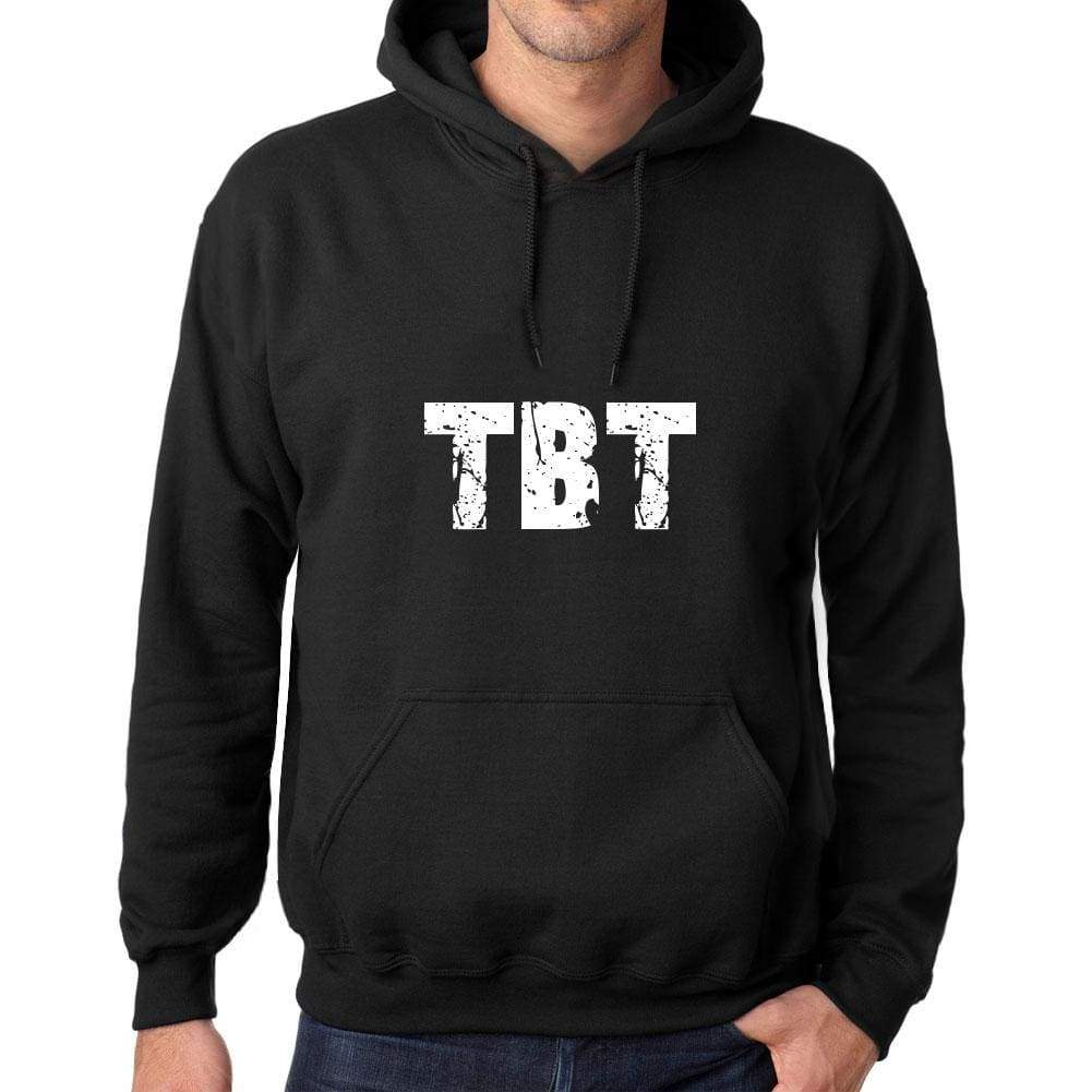 Mens Womens Unisex Printed Graphic Cotton Hoodie Soft Heavyweight Hooded Sweatshirt Pullover Popular Words Tbt Deep Black - Black / Xs /