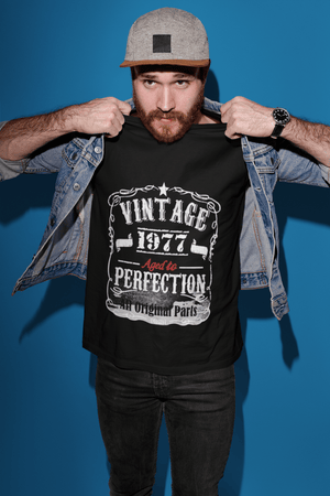• 1977 Vintage Aged to Perfection <span>Men's</span> T-shirt <span>Black</span> <span>Birthday</span> <span>Gift</span> Round Neck00490