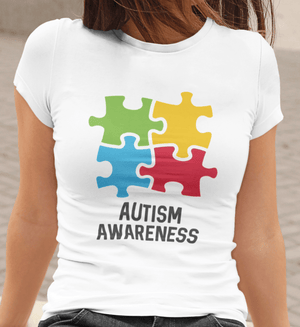 • Women's <span>Graphic</span> T-Shirt Autism Awareness <span>White</span> Round Neck