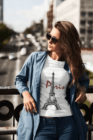 Eiffel Tower Tshirt <span>Women's</span> <span><span>Short Sleeve</span></span>Crew neck Tee 00181