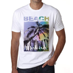 Mosteiros Beach Palm White Mens Short Sleeve Round Neck T-Shirt - White / S - Casual