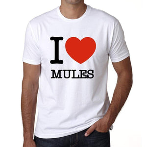 Mules I Love Animals White Mens Short Sleeve Round Neck T-Shirt 00064 - White / S - Casual