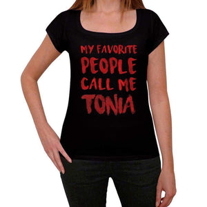 My Favorite People Call Me Tonia Black Womens Short Sleeve Round Neck T-Shirt Gift T-Shirt 00371 - Black / Xs - Casual